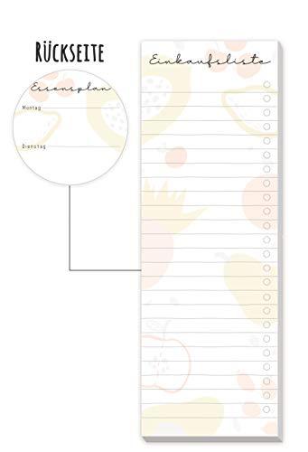 Einkaufsliste Block [Fruity] inkl. Magnet, 50 Blatt - im Hochformat | Einkaufszettel Notizblock inkl. Essensplaner (auf der Rückseite) von Trendstuff by Häfft | nachhaltig & klimaneutral
