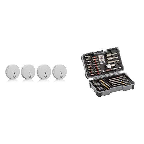 Smartwares TÜV Rauchmelder/Brandmelder, DIN EN 14604, reinweiß, RM149/4_1J & Bosch Professional 2607017164 43tlg (Zubehör für Elektrowerkzeuge) Schrauber Bit Set, 1 W, 240 V, Tools