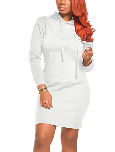 Hoodie Dresses for Women - Casual Long Sleeve Split Bodycon Dresses Pocketed Large White