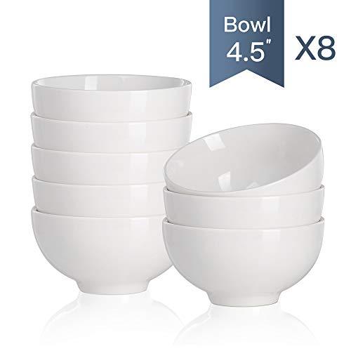 MALACASA Série Regular, 8pcs Bol Porcelaine Bol à Céréales Soupe Riz Vaisselles Céramique Blanc Service de Table 4.5\