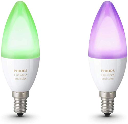 Philips Hue Pack de 2 ampoules connectées, Multicolore (White & Color) Flamme E14 - Fonctionne avec Alexa