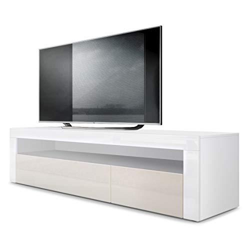 Vladon TV Board Lowboard Valencia, Korpus in Weiß matt/Front in Creme Hochglanz mit Rahmen in Weiß Hochglanz