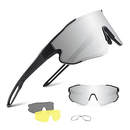 BangLong Occhiali da Ciclismo Polarizzati Occhiali da Sole Uomo Donna con 3 Lenti Intercambiabili, Occhiali da Sole Sportivi anti-UV, per Correre Pesca Arrampicata Golf Guida Mountain Bike