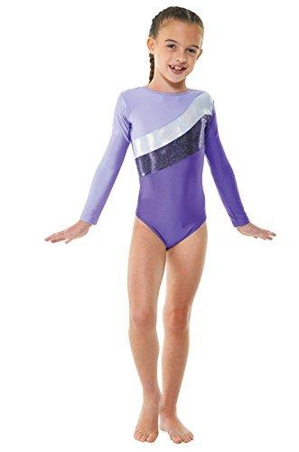 Body da ginnastica in Lycra, con strisce laminate, colore: rosa o viola (GYM19), Viola (viola), 9-10 anni