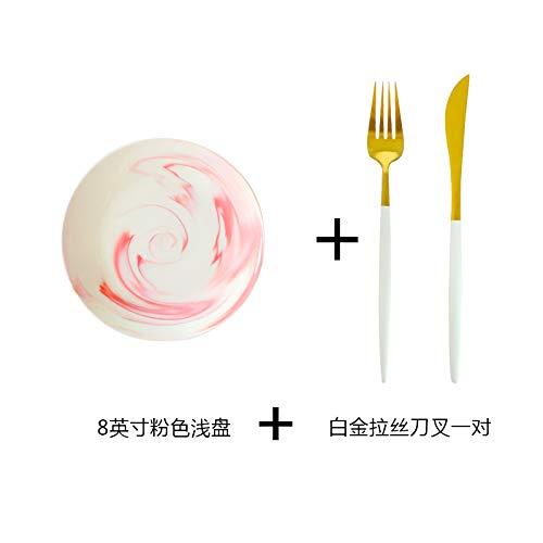 YUWANW Vajilla de mármol nórdico Platos occidentales Platos occidentales Juego de cuchillo para carne y tenedor, tazón de arroz rosa de 4,5 pulgadas