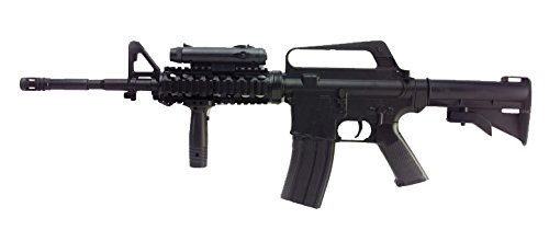 Airsoft Well M16A4 RIS a muella (spring) negra . Calibre 6mm. Potencia 0,5 Julios . Con accessorios …
