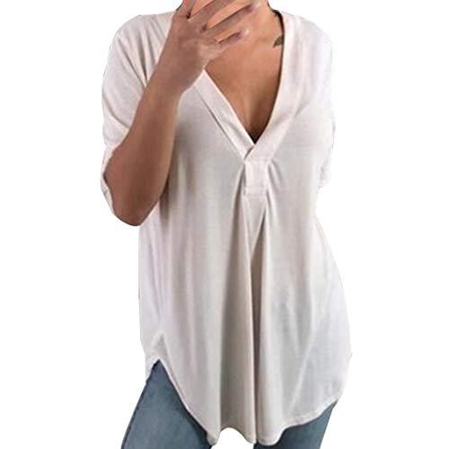 Longra Donna Camicetta Blusa Elegante Scollo A V Maglietta Donna Manica Corta Camicia Donna Elegante Taglie Forti Maniche Lunghe T-Shirt Camisetta Basic Estivo Causal Colore Solido Tops