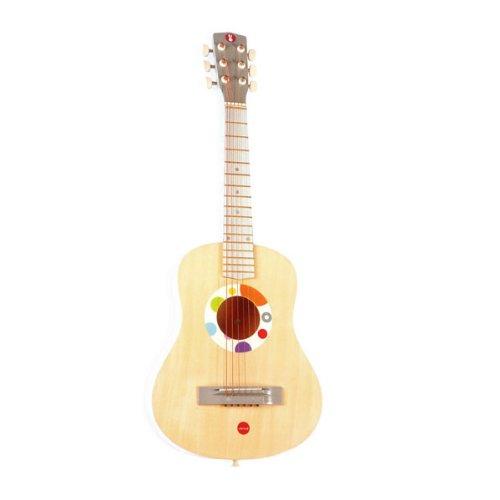 Janod 4507599 - Guitarra de Juguete con púa y Cuerdas reemplazables