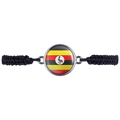 Mylery Armband mit Motiv Uganda Kampala Flagge Silber 16mm