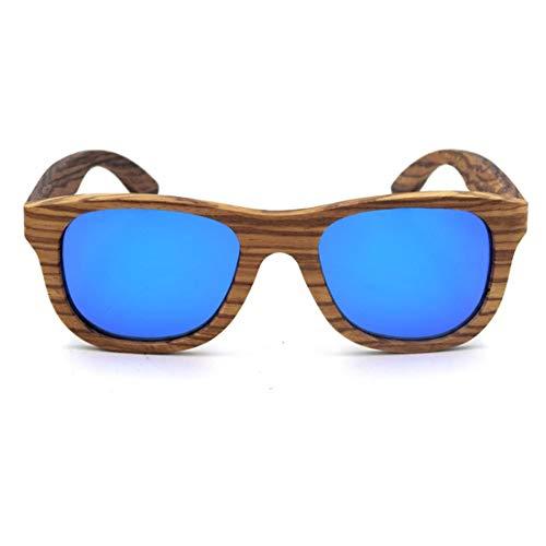 Minicocock La Lente Color protección UV400 for Unisex de los Adultos Retro Cebra de la artesanía de Madera con Borde de Las Gafas de Sol (Color : Blue)