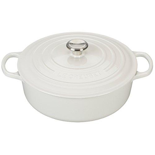 Le Creuset Enameled Cast Iron Signature Round Wide Dutch Oven, 6.75 qt., White