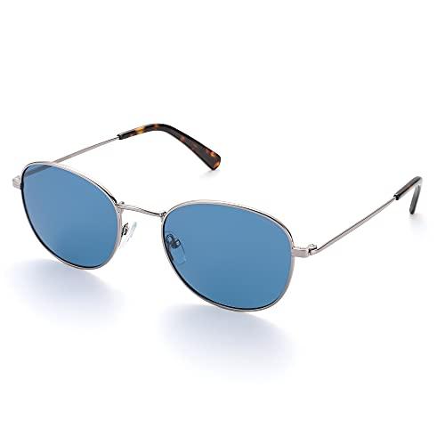 HNGM Gafas de Sol Gafas de Sol Redondas Retro de Las Mujeres, Gafas de Sol ovaladas clásicas de los Hombres, Color liviano, protección polarizada UV400 (Lenses Color : Solid Blue)