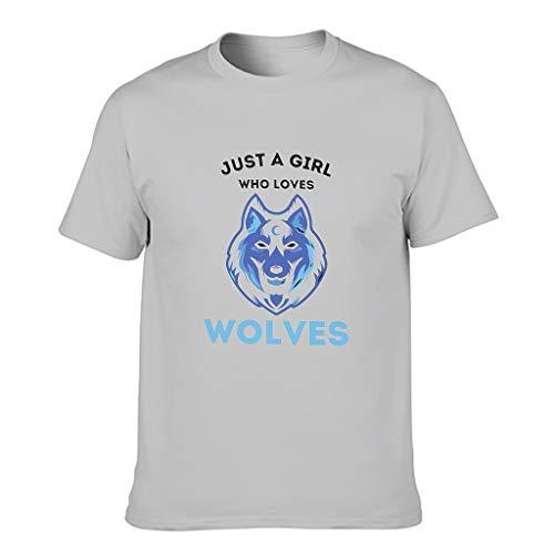 STELULI Camiseta de algodón para hombre con texto en inglés 'Just A Girl Loves Wolves'
