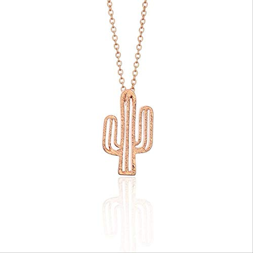 Simple Cactus Collar Minimalista Planta del Desierto Collares Colgante Oro Plata Color Mujer Collar Rosa Oro Color