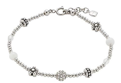 CIAO BY LEONARDO Damen-Armband Laura Mini's, Edelstahl mit Kristallsteinen, Muschel- und Glas-Perlen, mit Karabinerverschluss, Länge 185 mm, 016928