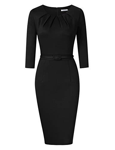 KOJOOIN Damen Etuikleid Business Bodycon Knielang Kleider Langarm Vintage Cocktailkleid mit Gürtel Schwarz XL