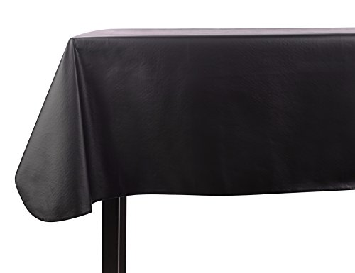 Yourtablecloth Heavy Duty Vinyl Rectangle or Square Tablecloth – 6 Gauge Heavy Duty Tablecloth – Flannel Backed – Wipeable Tablecloth with Vivid Colors & Many Sizes 52 x 70 Black