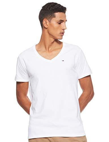 Tommy Jeans Herren Original Kurzarm T-Shirt Weiß (Classic White 100) Large