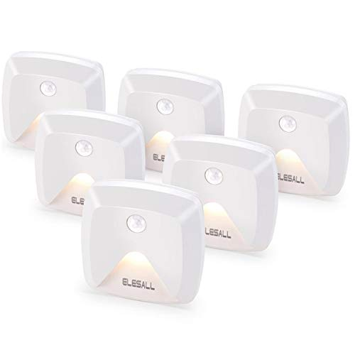 Stick-on Motion Sensor Lights, Warm White LED Night Light, Stick-Anywhere Stair Lights, Wireless Closet Light, Battery Operated Wall Light for Kitchen, Hallway, Bedroom, Bathroom, Stairs, 6-Pack