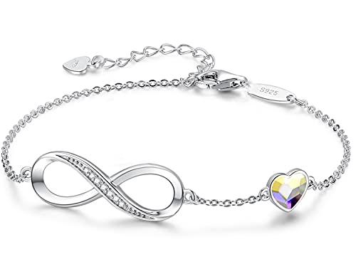 Beforya Paris – Pulsera para mujer con corazón de cristal AB – Plata 925 – Bonita pulsera brillante con corazón de cristal – Pulsera para mujer elegante caja de regalo