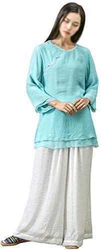 AMhuui Ropa Tradicional, Juego de la Espiga para Hombre y Mujer de Kung Fu Camisa Uniforme de Manga Corta Tops Abrigo y Pantalones de Lino de algodón Vestido Tradicional largas de la Ropa