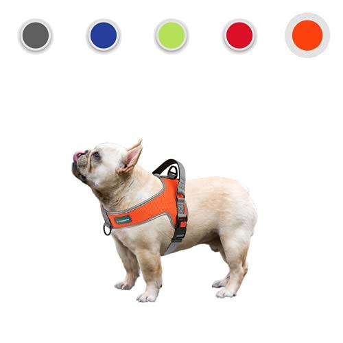 OrionisPet Arnés para Perros pequeño y Mediano Arnés para Perros Grande Transpirable Reflectante cómodo Suave Ajustable fácil de Usar Arnés para Perros (Naranja, M)