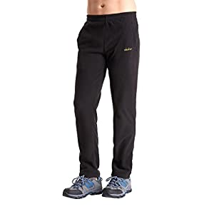 clothin Men/Women Polar Fleece Thermal Sweatpants (Men Black US XL)