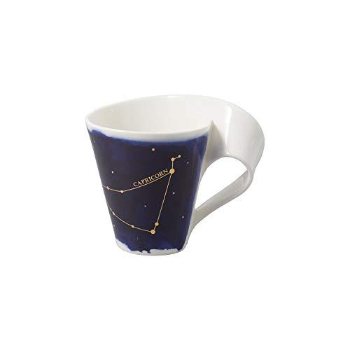 Villeroy & Boch - NewWave Stars Becher mit Henkel, formschöne Tasse mit Steinbock-Motiv, Premium Porzellan, spülmaschinengeeignet, weiß/blau, 300 ml