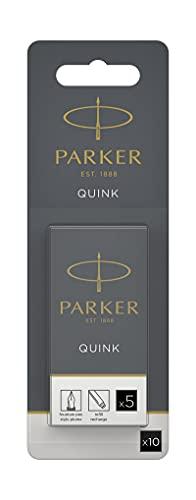 PARKER QUINK Long Fountain Pen Ink Refill Cartridges, Black, 10 Count