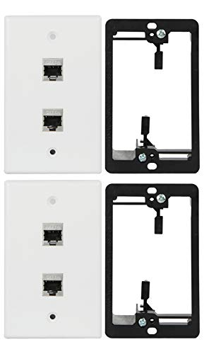 Wi4You Cat6 Wall Plate 2 Port, Single Gang RJ45 Wall Plate White + Mounting Bracket + Cat6A Jack for CAT5/CAT5E/CAT6/CAT6A Rated Ethernet Cables Connection (CAT6A-2port, 2pack)