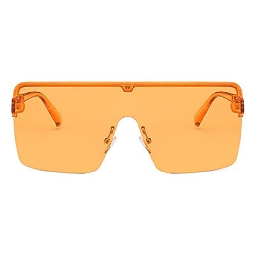 Gafas De Sol Gafas De Sol De Gran Tamaño para Mujer, Gafas De Sol Grandes De Una Pieza A Prueba De Viento, Gafas De Sol Cuadradas De Moda para Mujer, Uv400 Naranja