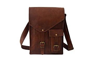 Real Leather Messenger Bag Fits 13 Inch Laptop MacBook | Men Women Teens College School Satchel Cross-body Shoulder Bags