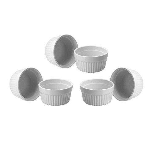 ToCi 6 weiße Creme Brulee Förmchen 9 cm | Schälchen für Ragout Fin | Pastetenform aus Keramik | auch für Schoko-Souffle