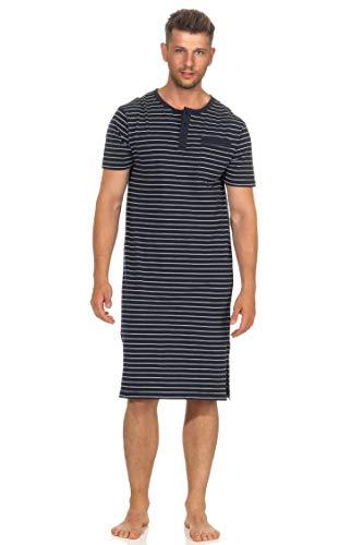 NORMANN-Wäschefabrik Herren Nachthemd Kurzarm in edler Streifenoptik- 102 111 90 502, Farbe:Marine, Größe2:48/50