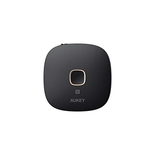 AUKEY Receptor Bluetooth 5, Adaptador Audio Inalámbrico con NFC y Manos Libres para Sistemas de Audio Domésticos y de Coche (Negro)