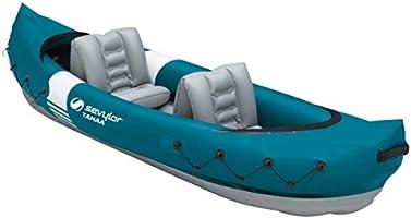 Sevylor Tahaa kajak, uppblåsbar kanot för 2 personer, uppblåsbar båt, paddelbåt med robust PVC-ytterskal, remmar för att...
