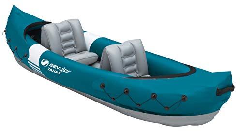 SEVYLOR Tahaa Kajak, Kayak Hinchable para 2 Personas, barcas hinchables con Funda de PVC Resistente y Cintas de sujeción para sostener Equipaje, Estructura de Barra para Mayor Estabilidad en el Agua