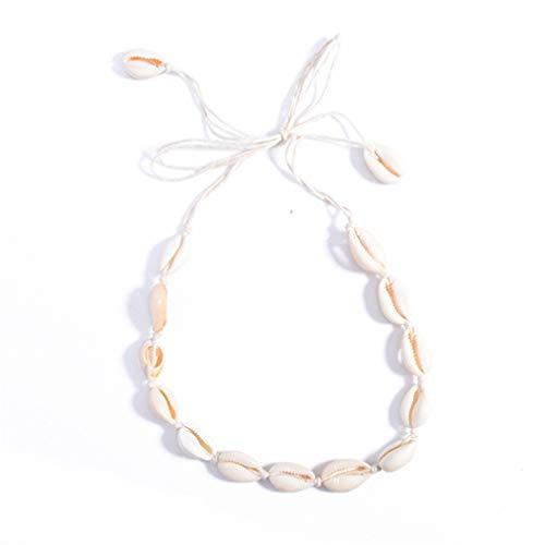MOONRING Natürliche Muschelkette Einfache Schlüsselbeinkette Persönlichkeit Halskette Einzigartige Halskette, beige