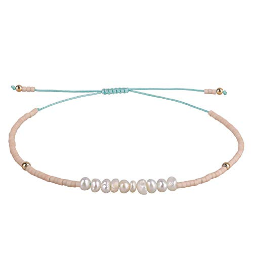 KELITCH Muschelkern Freundschaftsarmband Handmadee geflochtener Seed Perlen Strang Armband schönes Geschenk (Rosa I)