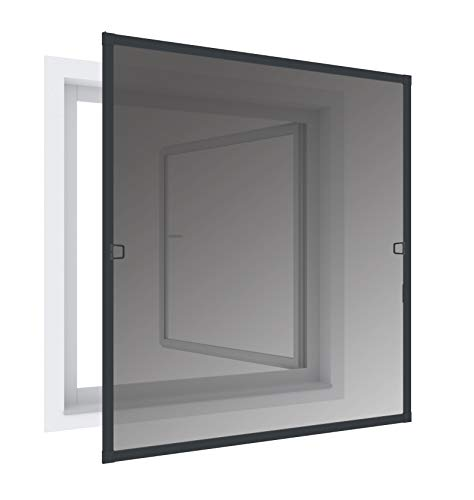 Windhager Insektenschutz und Sonnenschutz-Rahmenfenster, reduziert Sonneneinstrahlung, Fliegengitter, Alurahmen für Fenster, individuell anpassbar, 140 x 150cm, anthrazit, 03287