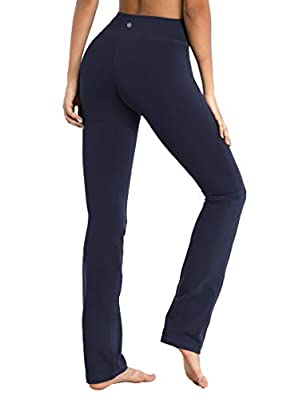 "BUBBLELIME 29""/31""/33""/35"" 4 Styles Women's Straight Legs Yoga Pants Tummy Control - Straight Leg_Darknavy M_31"" Inseam"
