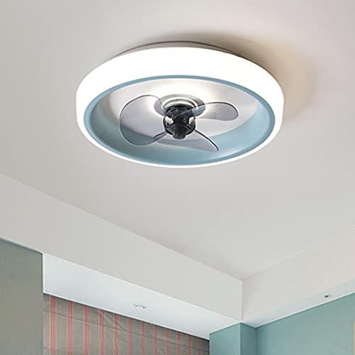 LMAMZ Ventilador de Techo con Luz Led Azul, Lámpara de Techo con Ventilador Regulable, Plafón Led con Mando a Distancia, para Dormitorio, Oficina, Restaurante, Salón, 48W, 3 Tonalidades, 50CM