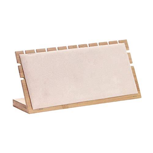 TOPBATHY - Collar de bambú con expositor de estantería, tamaño L, color blanco, beige, 24.5x7x12cm
