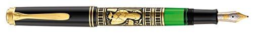 Pelikan 910240 Kolbenfüllhalter Toledo M 700 mit Bicolor-goldfeder 18-K/750 Federbreite B, 1 Stück, schwarz
