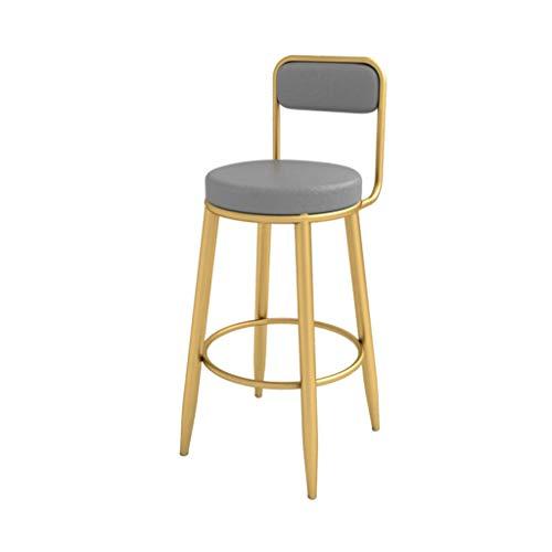 Bancos, sillas de Altura, taburetes de Bar con Patas metálicas Doradas, sillas de Comedor tapizadas para el Ocio, cojín de Cuero de PU, Carga máxima de 200 kg, Gris