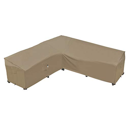 Garden Furniture Cover, Heavy Duty Patio Furniture Covers Waterproof 600D Oxford Sectional Couch Rattan Corner Sofa Table Chair Protection, V Shaped Lawn Winter Protector, 255 x 255CM - Desert Khaki