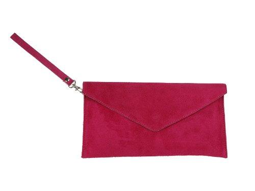 scarlet bag | Umhängetasche aus Wildleder Leder | Damen Handtasche Tasche Henkeltasche; 31,5 x 16,5 x 1,0 cm (fuchsia)