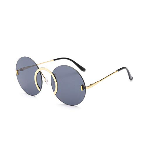 HAOMAO Gafas de Sol Redondas sin Montura con Anillo de Nariz Uv400 únicas para Mujeres y Hombres, Gafas de Sol clásicas con Lentes de océano Transparentes, Tonos Gris Dorado