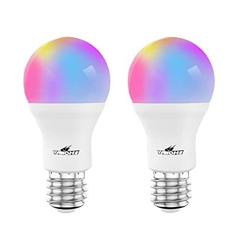 Pack de 2 Zigbee Bombilla Inteligente Alexa Bombillas de Luz 806Lm E27 10W Regulable RGB + CCT 2700-6500K Color Bombillas LED Inteligentes Trabajar con TUYA/Vida Inteligente APP