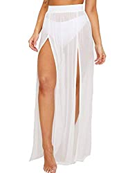 White long skirt swimsuit cover-up for women